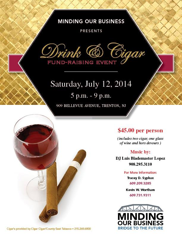 Drink and Cigar flier for MOB fundraising event