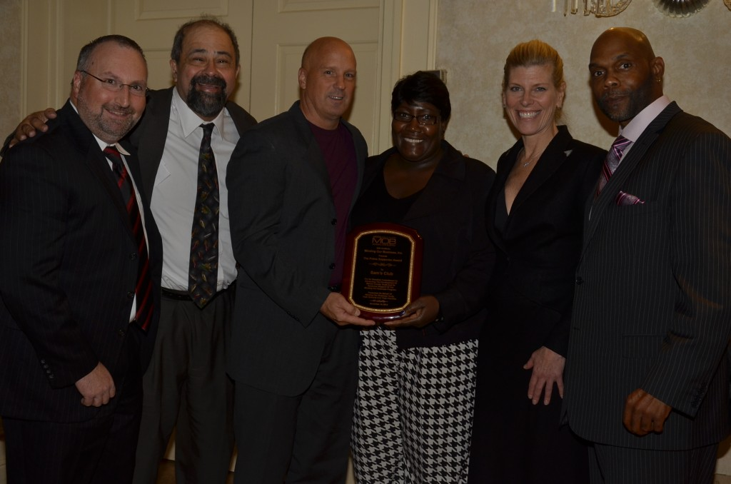 MOB presented its 2014 Prime Supporter Award to Sam's Club. Pictured (from l. to r.) are John Monaghan, Sigfredo Hernandez, Bob Alderman, Neosha Dixon, Debbie Schaeffer, and Kevin Wortham