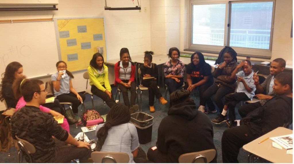 Mentors and students at a MOB Service-Learning Session at the Kilmer School in Trenton